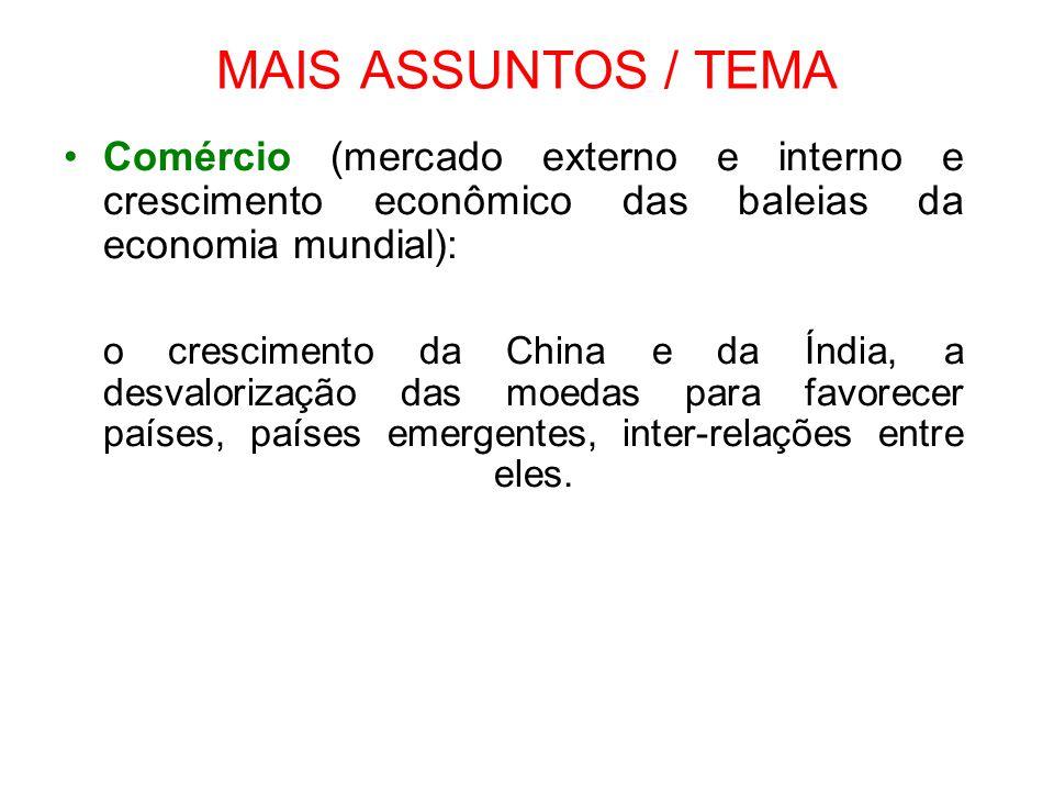 MAIS ASSUNTOS / TEMA Comércio (mercado externo e interno e crescimento econômico das baleias da economia mundial):