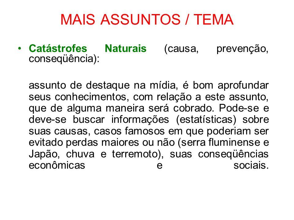 MAIS ASSUNTOS / TEMA Catástrofes Naturais (causa, prevenção, conseqüência):