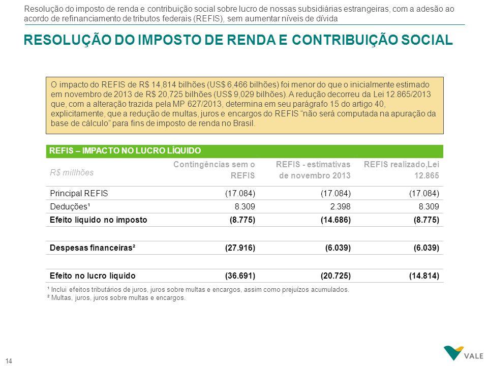 Conclusão de projetos necessários para o crescimento da produção de minério de ferro nos anos de 2014 a 2016 (Conceição Itabiritos, Carajás Planta 2, e CLN 150) e projetos essenciais de metais básicos (Long Harbour e Totten)