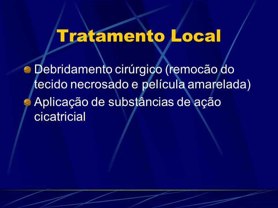 Tratamento Local Debridamento cirúrgico (remocão do tecido necrosado e película amarelada) Aplicação de substâncias de ação cicatricial.