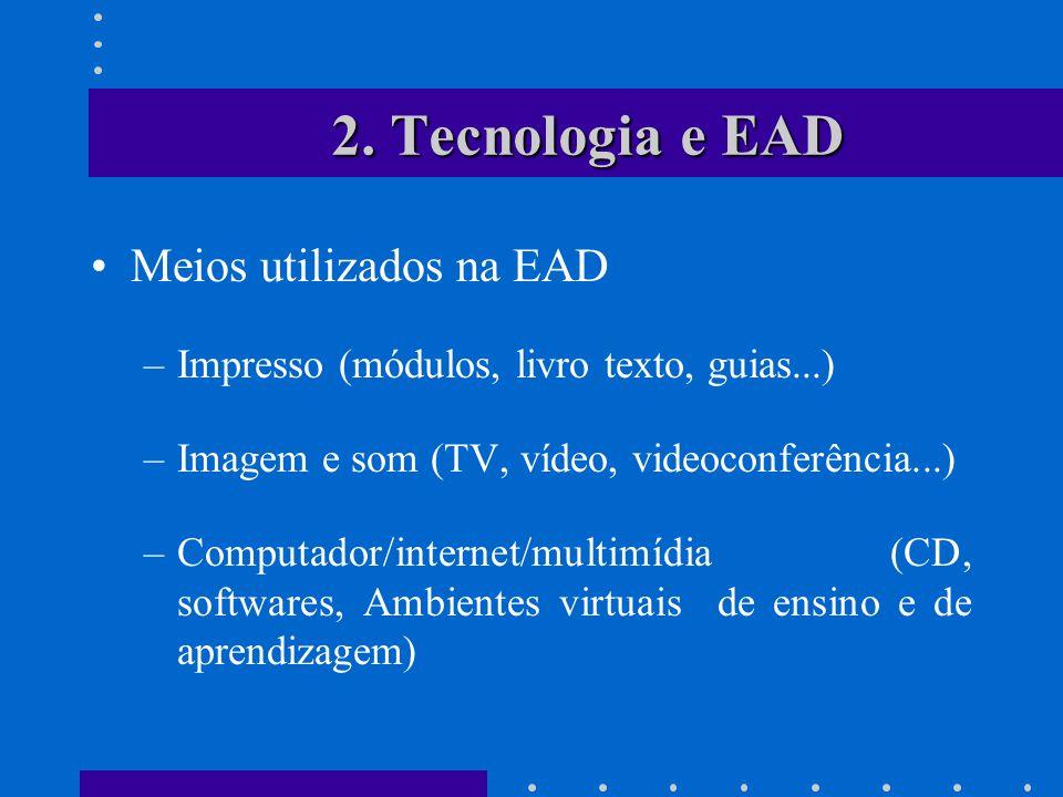 2. Tecnologia e EAD Meios utilizados na EAD