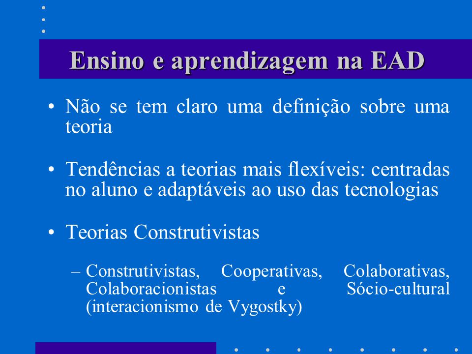 Ensino e aprendizagem na EAD