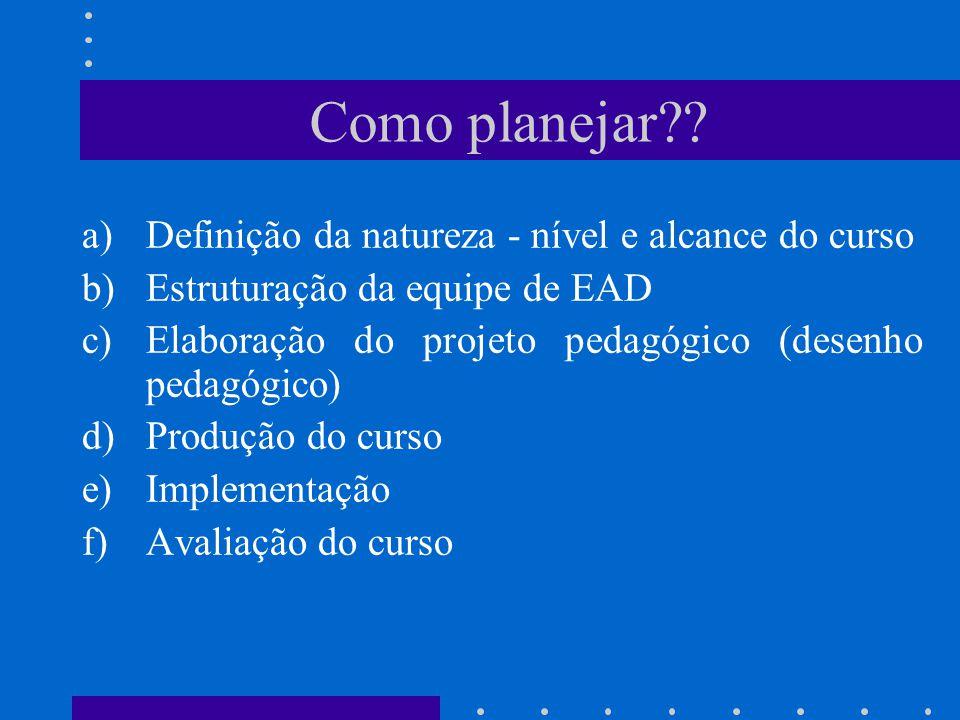 Como planejar Definição da natureza - nível e alcance do curso