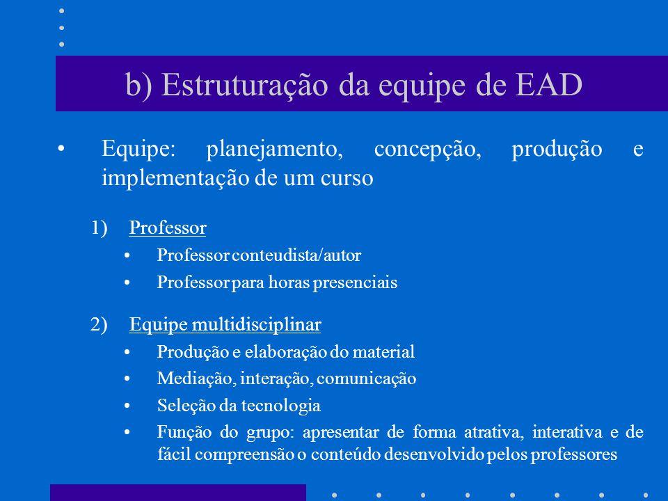 b) Estruturação da equipe de EAD