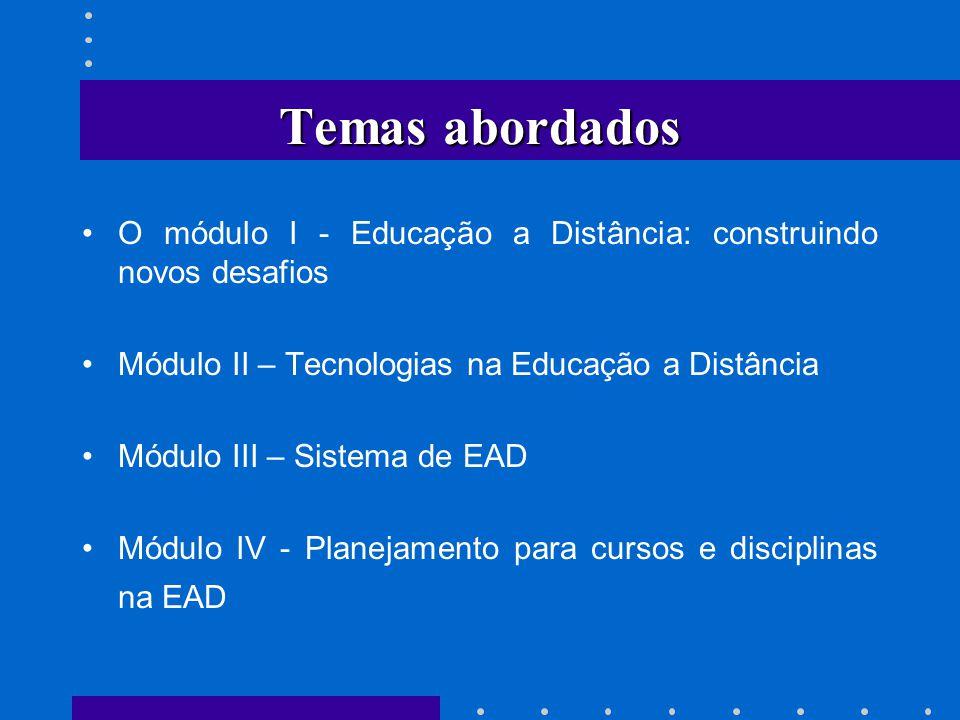 Temas abordados O módulo I - Educação a Distância: construindo novos desafios. Módulo II – Tecnologias na Educação a Distância.