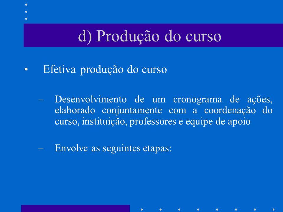 d) Produção do curso Efetiva produção do curso