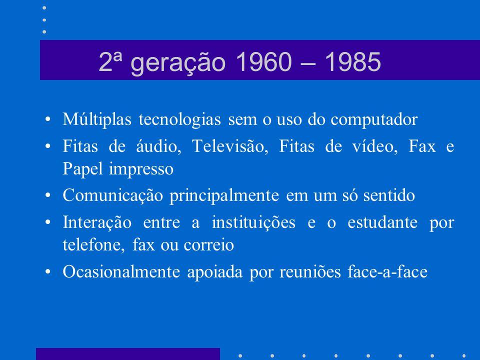 2ª geração 1960 – 1985 Múltiplas tecnologias sem o uso do computador