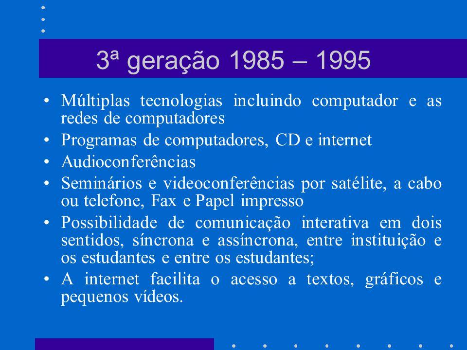 3ª geração 1985 – 1995 Múltiplas tecnologias incluindo computador e as redes de computadores. Programas de computadores, CD e internet.
