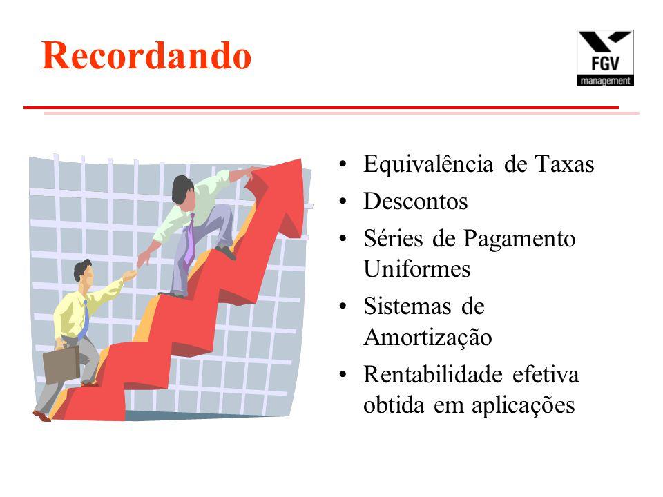 Recordando Equivalência de Taxas Descontos