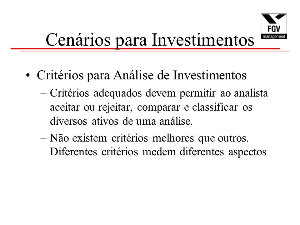 Cenários para Investimentos