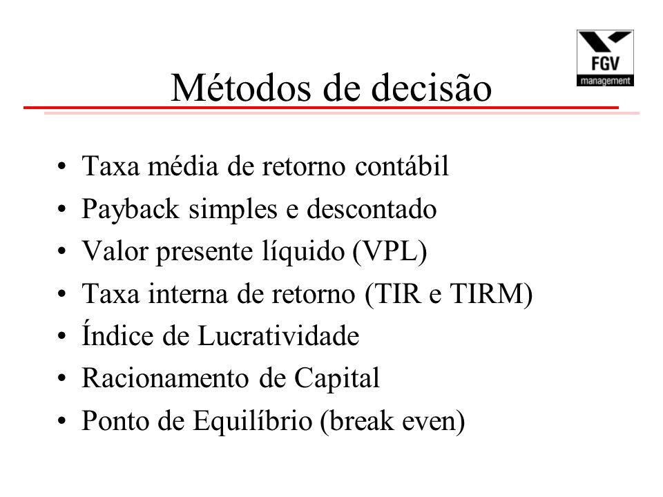 Métodos de decisão Taxa média de retorno contábil