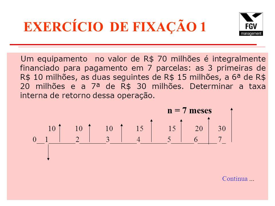 EXERCÍCIO DE FIXAÇÃO 1 n = 7 meses
