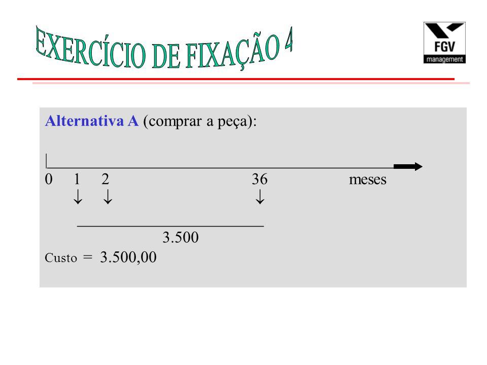 EXERCÍCIO DE FIXAÇÃO 4 Alternativa A (comprar a peça):