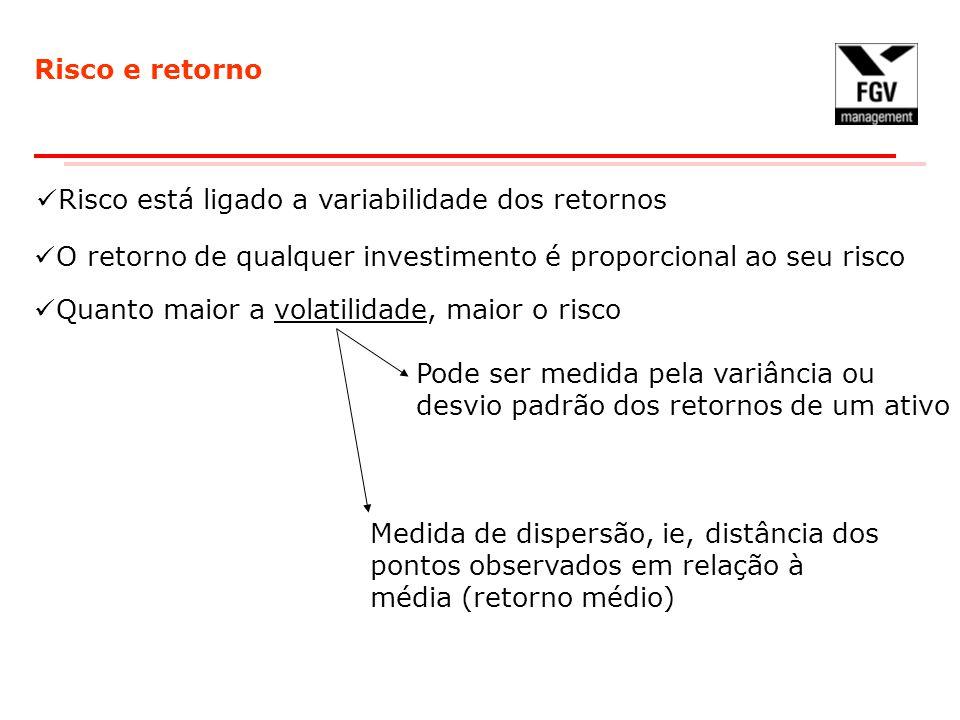 Risco e retorno Risco está ligado a variabilidade dos retornos. O retorno de qualquer investimento é proporcional ao seu risco.