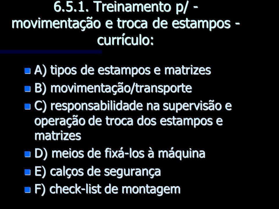 6.5.1. Treinamento p/ - movimentação e troca de estampos -currículo:
