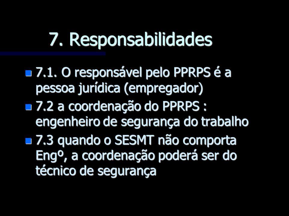 7. Responsabilidades 7.1. O responsável pelo PPRPS é a pessoa jurídica (empregador) 7.2 a coordenação do PPRPS : engenheiro de segurança do trabalho.