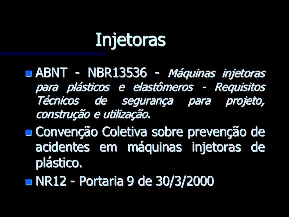 Injetoras ABNT - NBR13536 - Máquinas injetoras para plásticos e elastômeros - Requisitos Técnicos de segurança para projeto, construção e utilização.