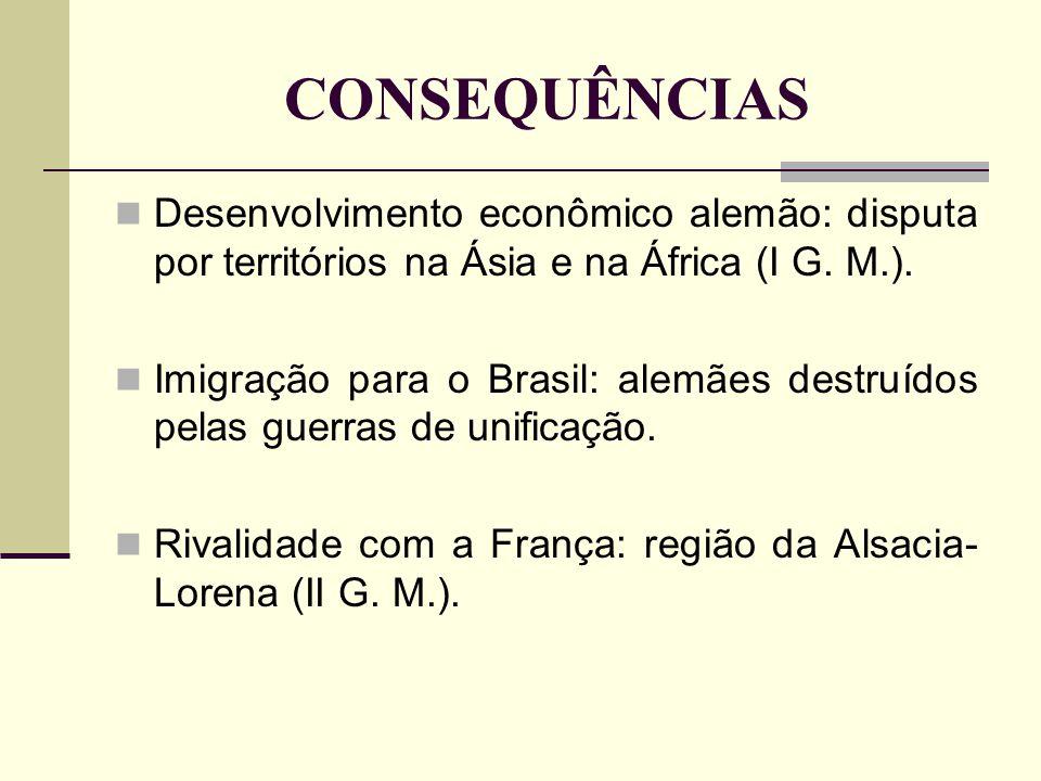 CONSEQUÊNCIAS Desenvolvimento econômico alemão: disputa por territórios na Ásia e na África (I G. M.).