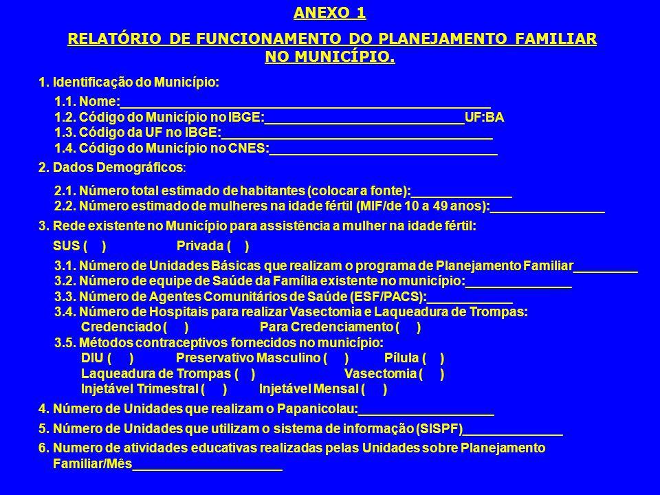 RELATÓRIO DE FUNCIONAMENTO DO PLANEJAMENTO FAMILIAR