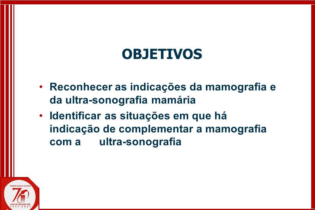 OBJETIVOS Reconhecer as indicações da mamografia e da ultra-sonografia mamária.