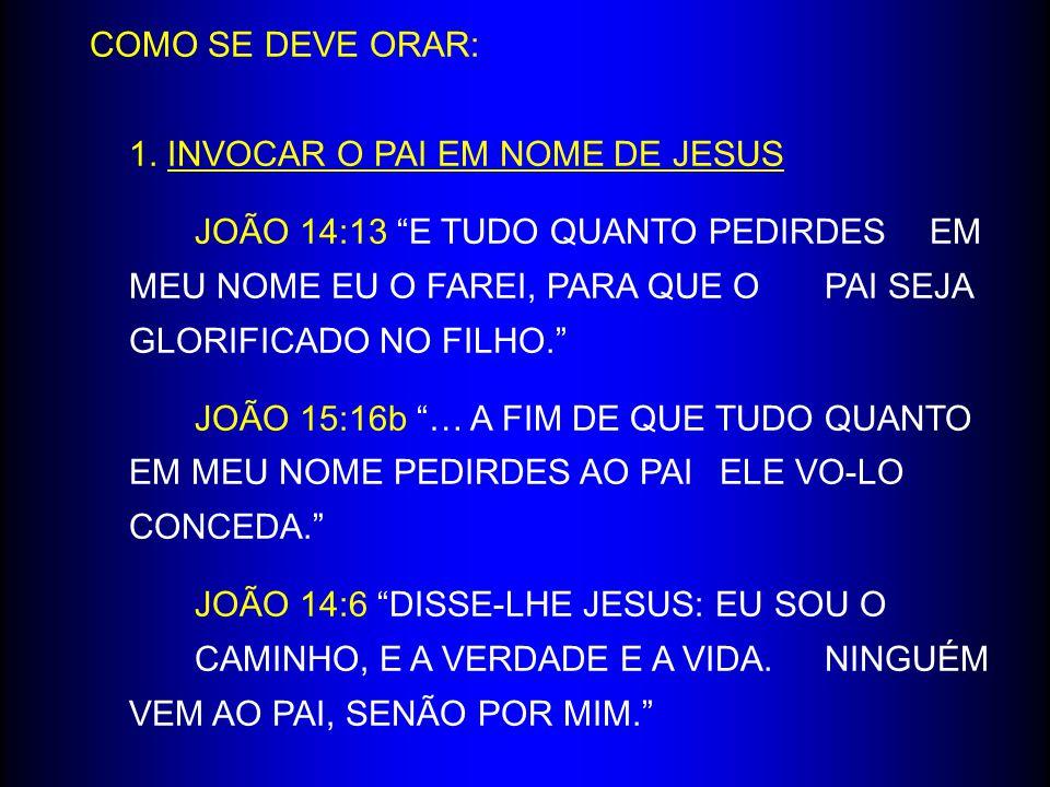 1. INVOCAR O PAI EM NOME DE JESUS