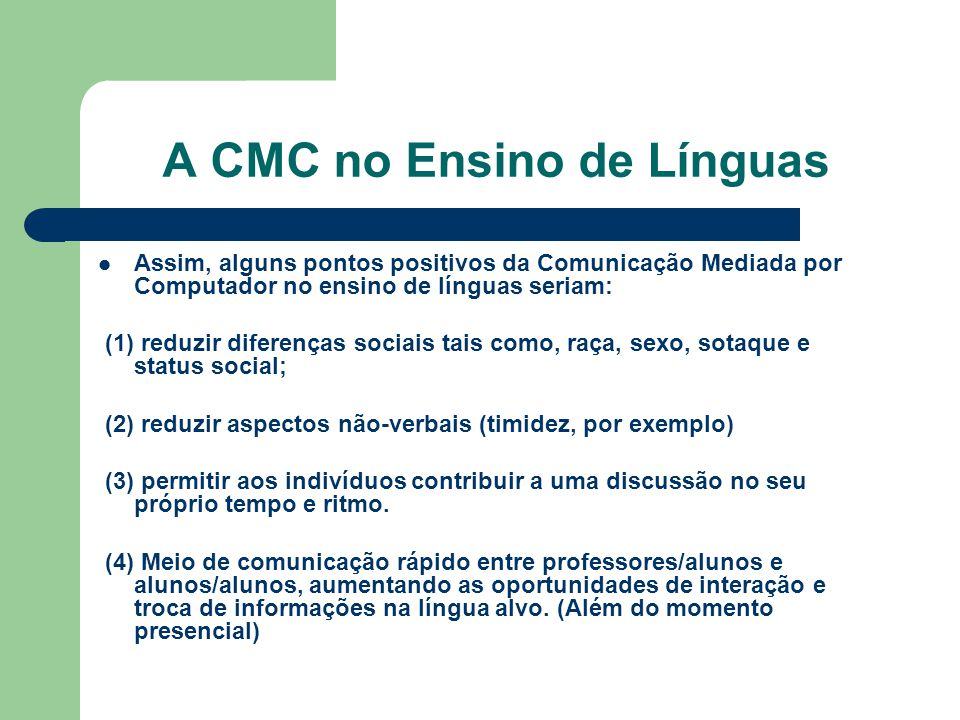 A CMC no Ensino de Línguas