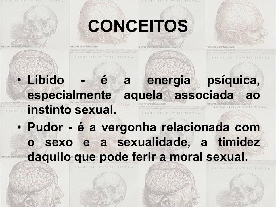 CONCEITOS Libido - é a energia psíquica, especialmente aquela associada ao instinto sexual.