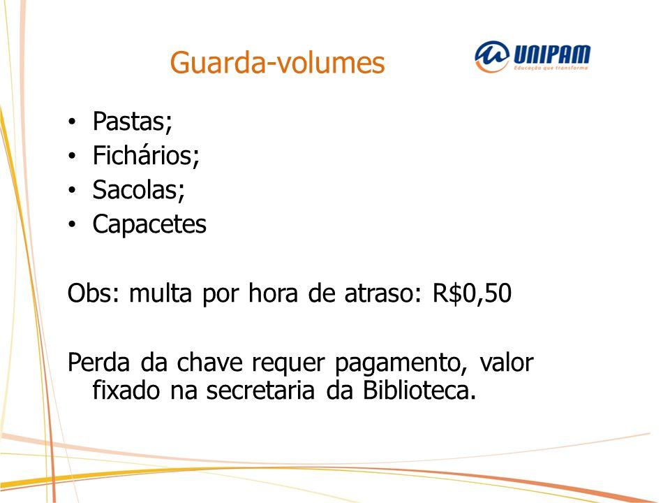 Guarda-volumes Pastas; Fichários; Sacolas; Capacetes
