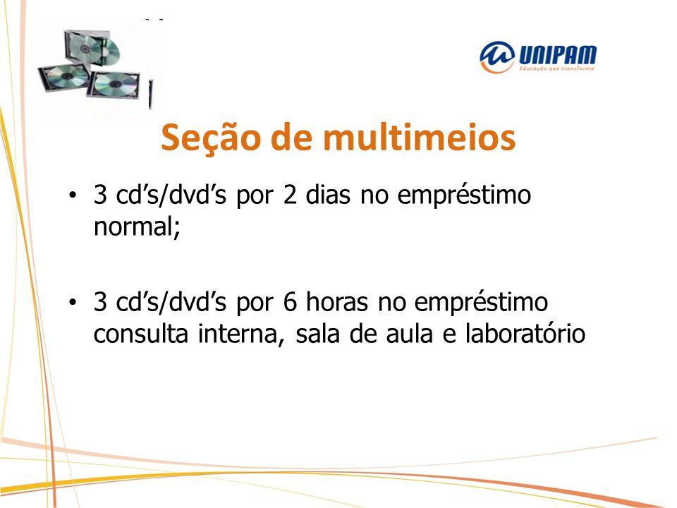 Seção de multimeios 3 cd's/dvd's por 2 dias no empréstimo normal;