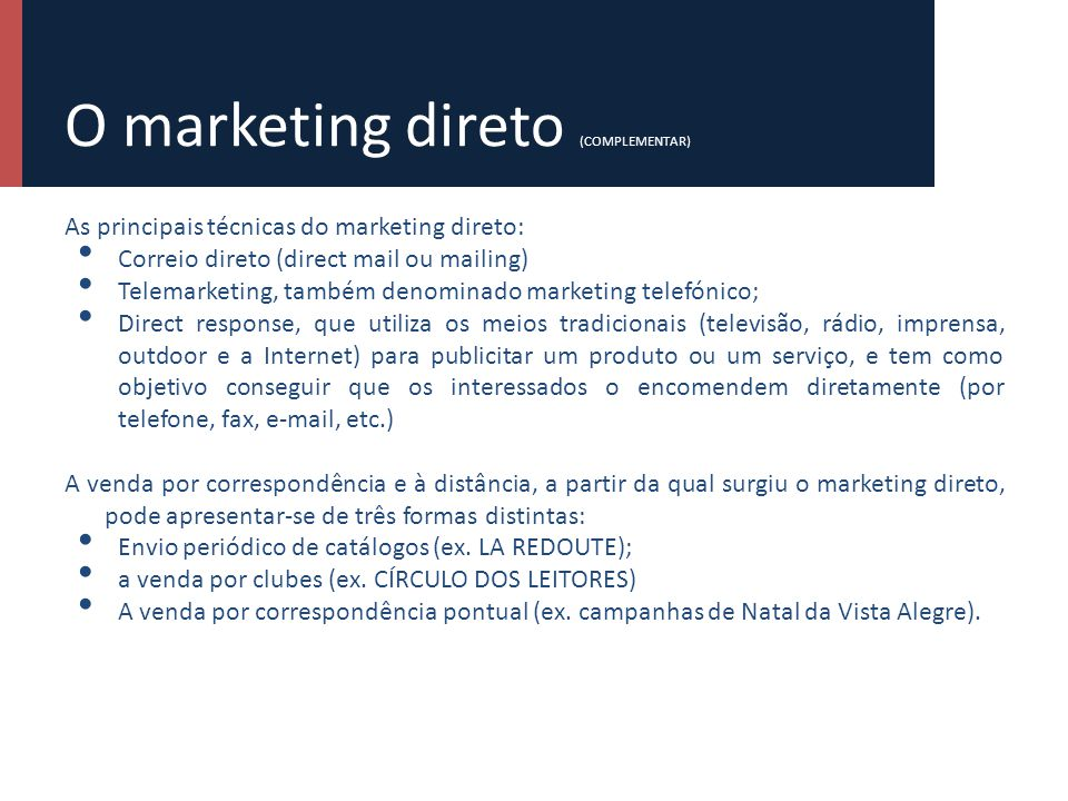 O marketing direto (COMPLEMENTAR)