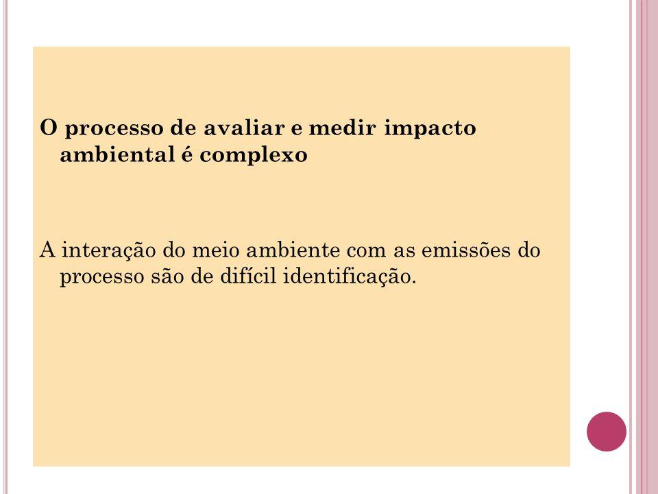 O processo de avaliar e medir impacto ambiental é complexo A interação do meio ambiente com as emissões do processo são de difícil identificação.