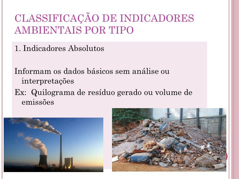 CLASSIFICAÇÃO DE INDICADORES AMBIENTAIS POR TIPO