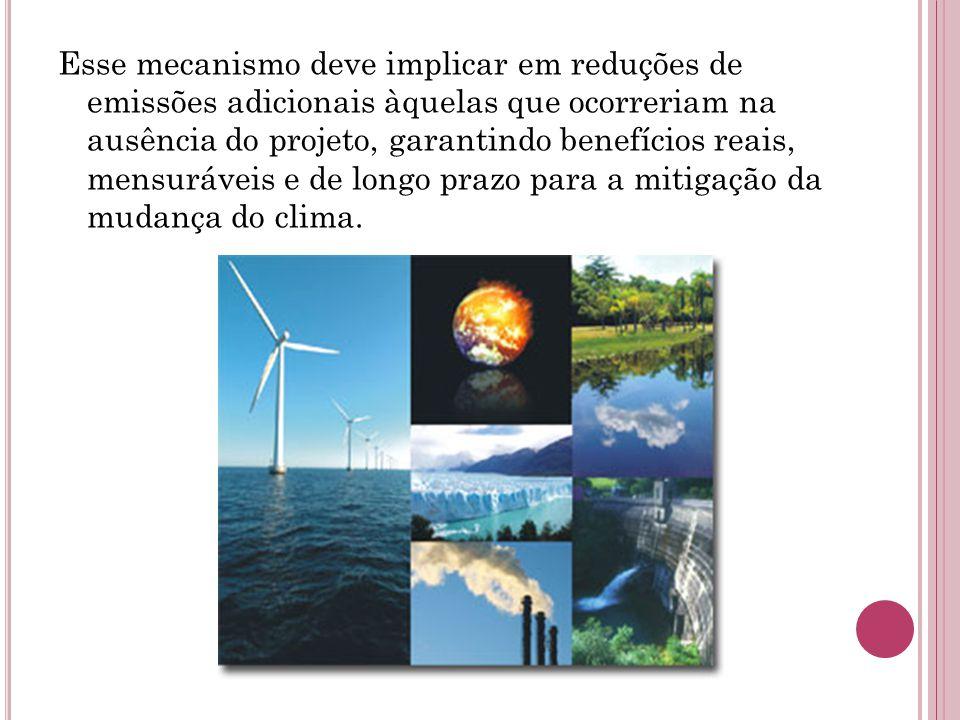 Esse mecanismo deve implicar em reduções de emissões adicionais àquelas que ocorreriam na ausência do projeto, garantindo benefícios reais, mensuráveis e de longo prazo para a mitigação da mudança do clima.