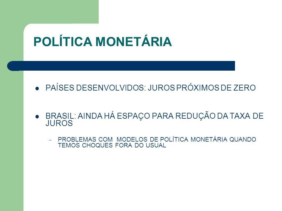 POLÍTICA MONETÁRIA PAÍSES DESENVOLVIDOS: JUROS PRÓXIMOS DE ZERO