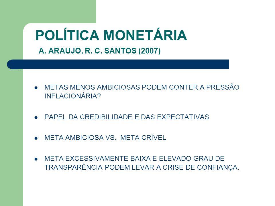 POLÍTICA MONETÁRIA A. ARAUJO, R. C. SANTOS (2007)