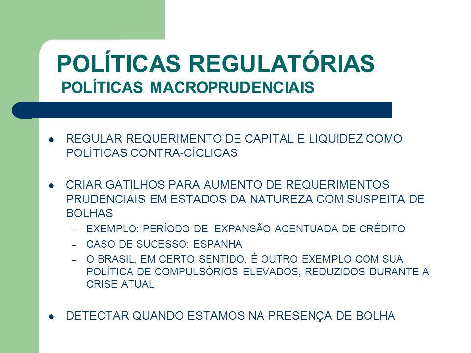 POLÍTICAS REGULATÓRIAS POLÍTICAS MACROPRUDENCIAIS
