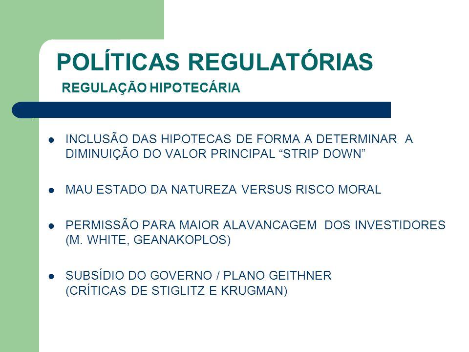 POLÍTICAS REGULATÓRIAS REGULAÇÃO HIPOTECÁRIA