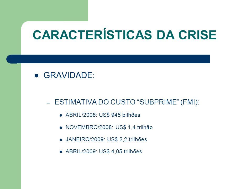 CARACTERÍSTICAS DA CRISE