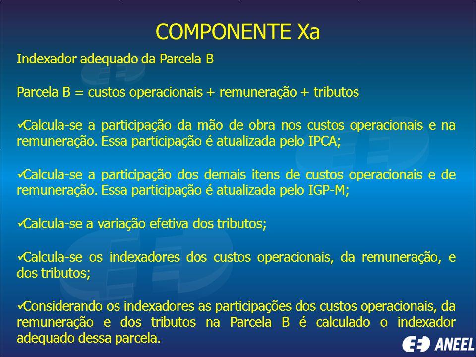 COMPONENTE Xa Indexador adequado da Parcela B