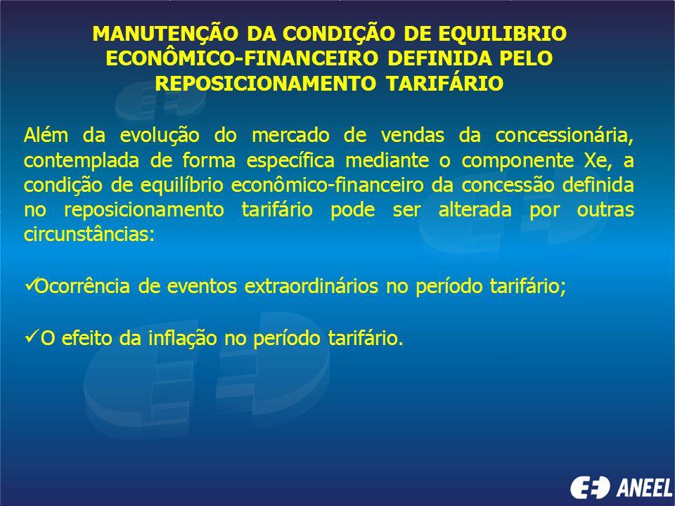 MANUTENÇÃO DA CONDIÇÃO DE EQUILIBRIO ECONÔMICO-FINANCEIRO DEFINIDA PELO REPOSICIONAMENTO TARIFÁRIO