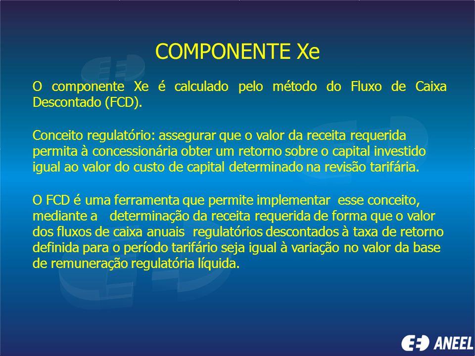 COMPONENTE Xe O componente Xe é calculado pelo método do Fluxo de Caixa Descontado (FCD).