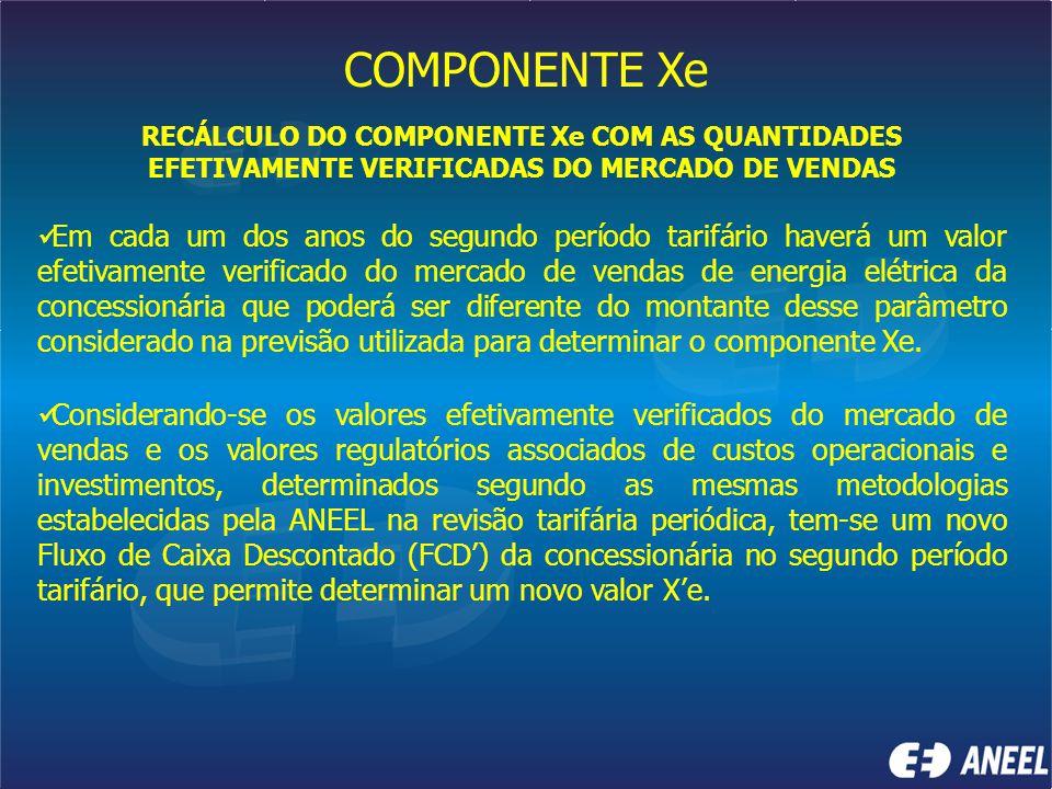 COMPONENTE Xe RECÁLCULO DO COMPONENTE Xe COM AS QUANTIDADES EFETIVAMENTE VERIFICADAS DO MERCADO DE VENDAS.