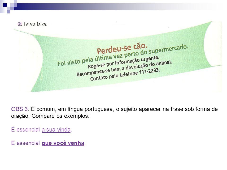 OBS 3: É comum, em língua portuguesa, o sujeito aparecer na frase sob forma de oração. Compare os exemplos:
