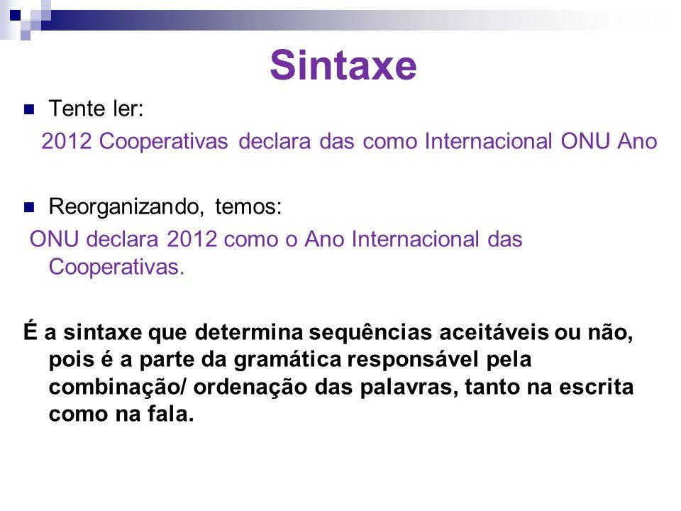 Sintaxe Tente ler: 2012 Cooperativas declara das como Internacional ONU Ano. Reorganizando, temos:
