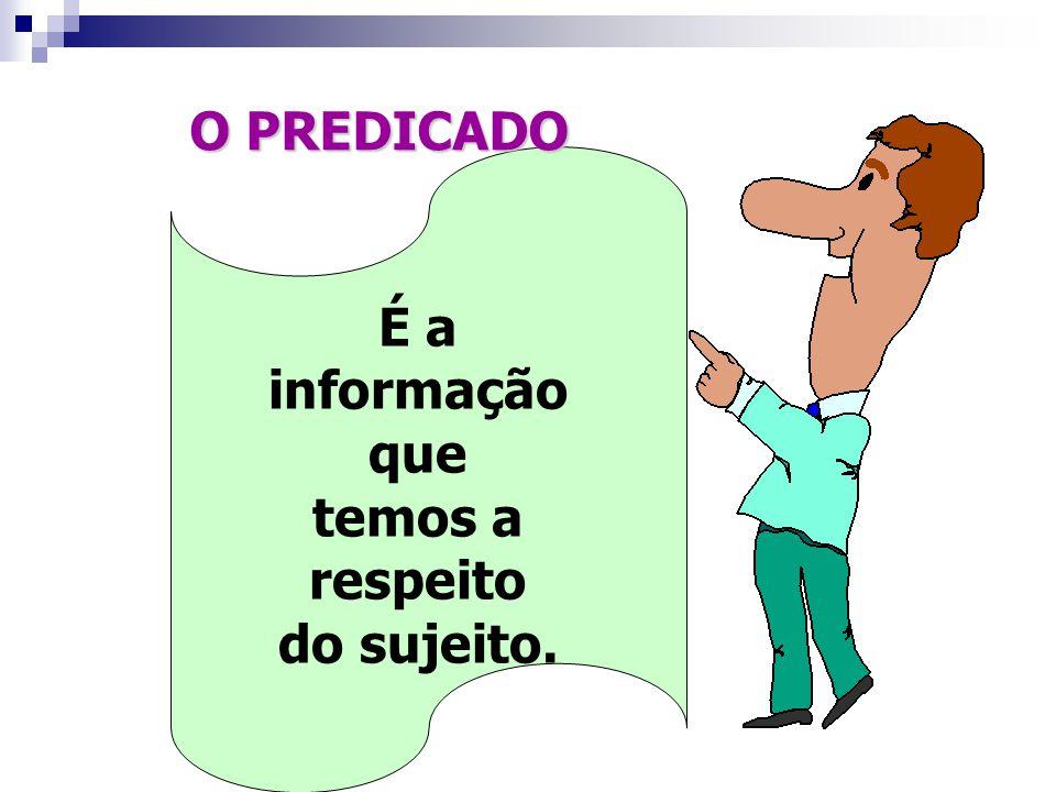 O PREDICADO É a informação que temos a respeito do sujeito.