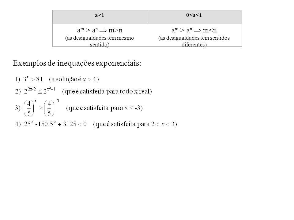 Exemplos de inequações exponenciais: