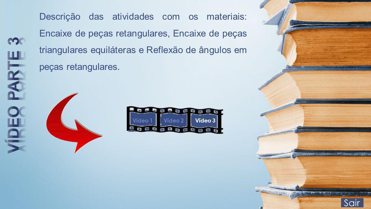 Descrição das atividades com os materiais: Encaixe de peças retangulares, Encaixe de peças triangulares equiláteras e Reflexão de ângulos em peças retangulares.