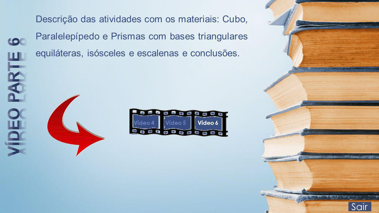 Descrição das atividades com os materiais: Cubo, Paralelepípedo e Prismas com bases triangulares equiláteras, isósceles e escalenas e conclusões.