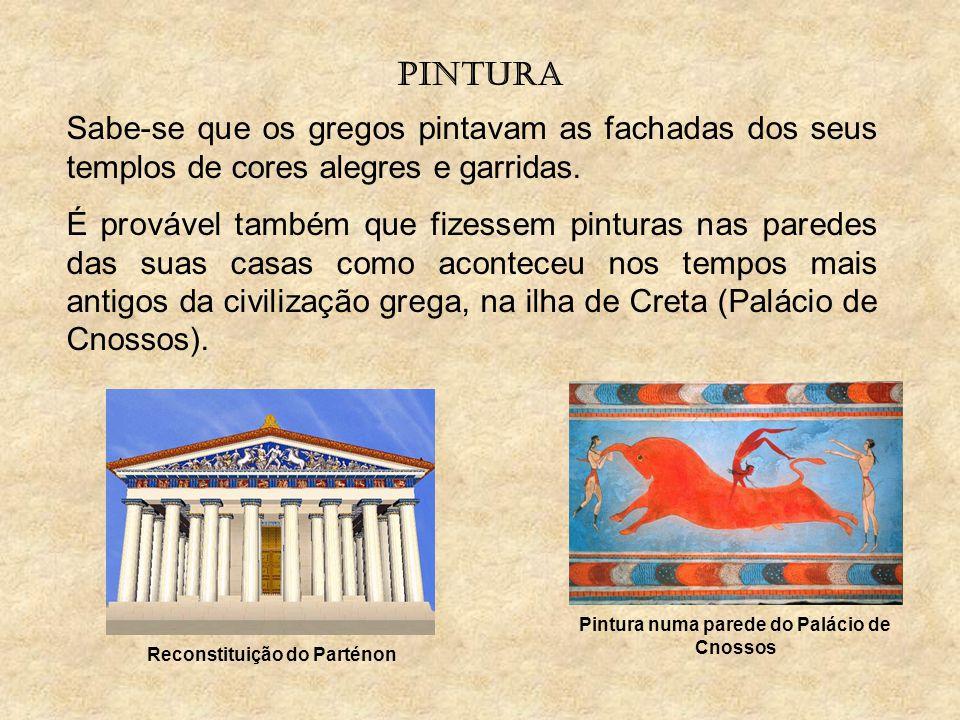 Pintura numa parede do Palácio de Cnossos Reconstituição do Parténon