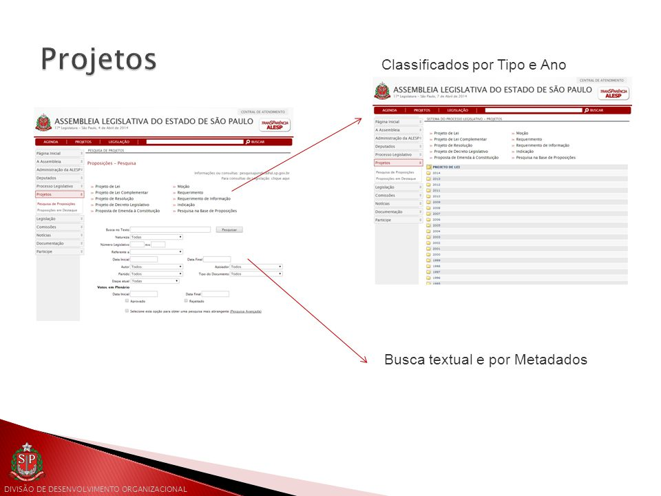 Projetos Classificados por Tipo e Ano Busca textual e por Metadados